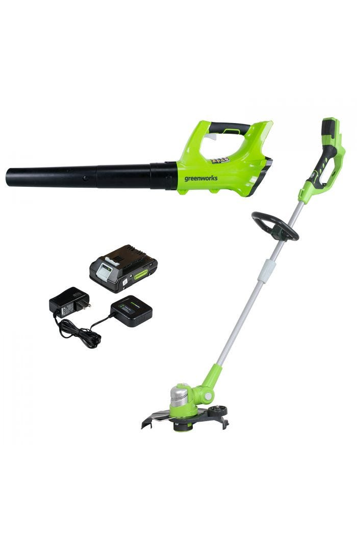 "24V Cordless 12"" String Trimmer & Leaf Blower with 2.0 Ah Battery"