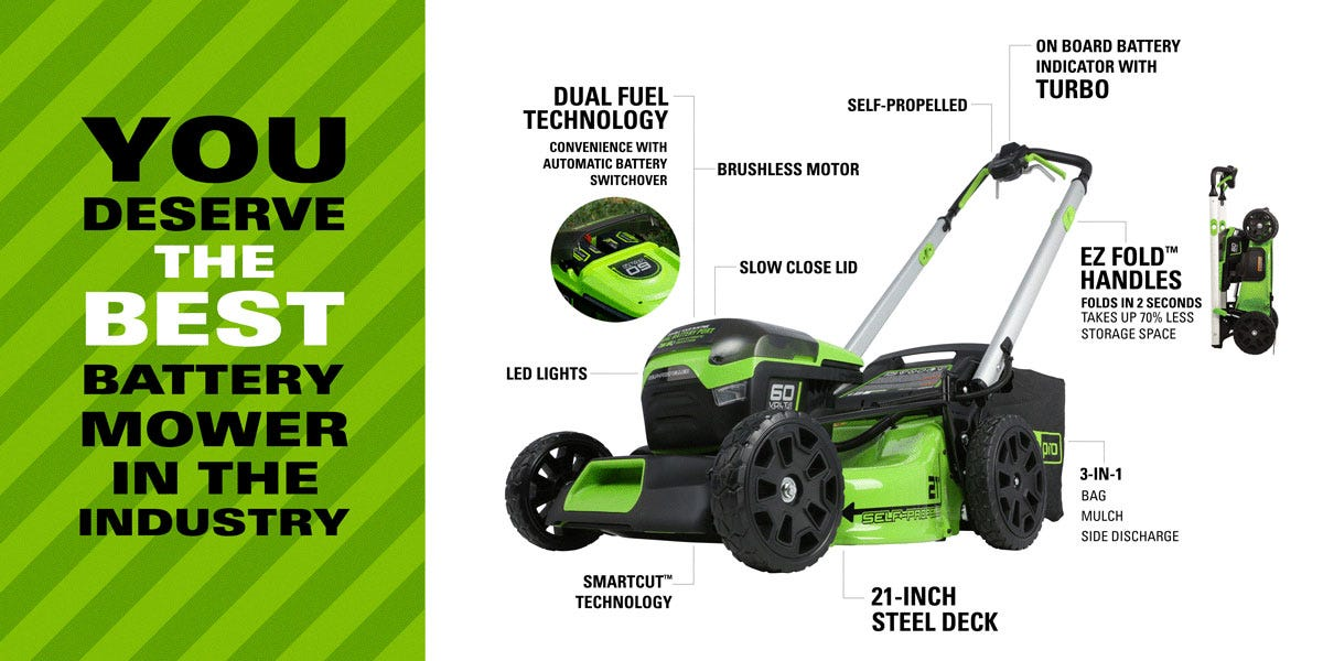 Pro 60V Cordless 21 inch Self-Propelled Brushless Lawn Mower