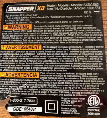 SP Saw Label